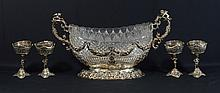 Continental Cut Glass and 800 Silver Centerpiece Bowl, 19th/20th C, 10 1/2