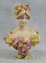 Turn-Teplitz, Austria  Porcelain Bust of A Woman, 19th/20th c, Height: 16