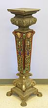 Renaissance Revival Pewter and Majolica Pedestal, 19th/20th c, Height: 45 1/2