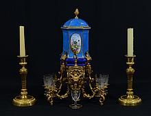 Sevres Style Porcelain and Gilt Metal Mounted Cordial Set, 19th/20th c, 16