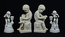Pr Bisque Porcelain Putti Figures, with Pr Figural Putti Candlestick, 20th C, tallest 11