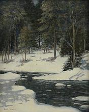 Carl Efraim Wallin, American/Swedish, 1879-1968, Winter Landscape With Trees, Artist Signed LL, O/C, 19 3/4