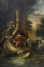 Scarpitta Contaiano, Pond Landscape With Figures and Boat, Artist Signed LL, Oil On Panel, Gilt Framed With Liner, 35