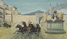 Unknown Artist, 20th c, Roman Chariot Scene,  O/C, 29 1/2