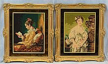(4) Needlework Panels By Gloria Paul, D 2014,  Young Women In Various Settings, Largest 39