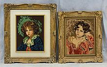 (6) Needlework Panels By Gloria Paul, D 2014, Portraits of Children, Largest 33