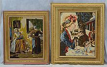 (4) Needlework Panels By Gloria Paul, D 2014, Ladies With Dogs, Other Animals, Largest 39