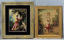 (4) Needlework Panels By Gloria Paul, D 2014, Poodle, (2) Women With Dogs, Lady At A Well, Largest 45