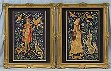 (2) Needlework Panels By Gloria Paul, D 2014, Renaissance themed, Lady With Unicorn, Prince With Falcon, Largest 49