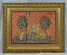 (2) Needlework Panels By Gloria Paul, D 2014, Renaissance themed, Unicorns & other Mythological Creatures with Women, Largest 49