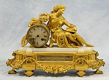 French Empire Gilt Metal Mantle Clock, 19th c, Height: 12