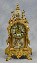 Waterbury Sevres Style Porcelain & Gilt Metal Mantle Clock, 19th/20th c, Height: 13 1/2