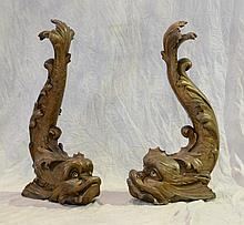 Pr carved wood inverted dolphins, about 33