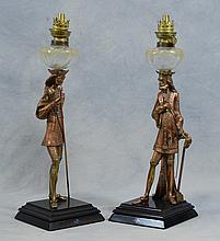 Pr of Gilt Bronze Figural Oil Table Lamps, 19th/20th C, Height: 20