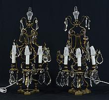 Pr of Prismed Mantle Lights, 20th c, Height: 29