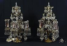 Pr of Twin Light Mantle Lustres, 20th c, With Abundant Cut Glass Teardrop Crystals and Pendants, Height: 24
