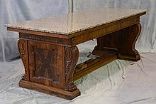 Carved Walnut Renaissance Revival Library Table, Fitted With 2 Later Marble Tops, 19th/20th c, Height: 32 1/2