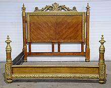 Louis XVI Style Kingswood Wood & Gilt Bedframe, 20th C, Height: 72