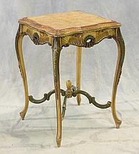 Carved and painted Louis XV style marble top lamp table, scalloped top, arched cross stretcher base, early 20th C, 29