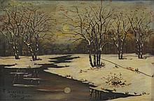 F Szories, Winter Landscape, Artist Signed LL