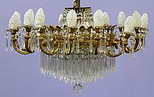 French Empire Style Sixteen Light Chandelier, 20th c, Height: 30