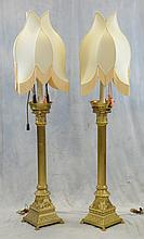 Pr Brass and Wooden Column Form Candlestick Floor Lamps , 20th c, Body Height: 43