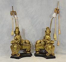 Pr Gilt Bronze Figural Chenet Mounted As Table Lamps, Wooden Bases, 19th C, Height: 21