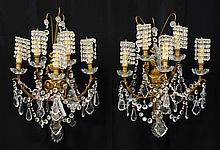 (6) Gilt Metal & Crystal Mounted Five Light Wall Sconces, 20th c, Height: 23