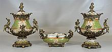 Three Piece Metal Mounted Garniture, 20th C, Including:, A Pr of Gilt Metal Mounted Covered Urns, 20
