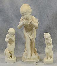(2) Carved Alabaster Child Figures, With A Cast Marble Figure of A Youth, 20th C, tallest 21