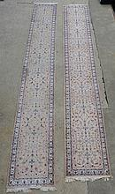 2 French Savonnerie Style Runners, 20th c, the smaller measures: Length: 19