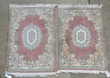 Pr of French Savonnerie Style  Area Carpets, 20th c, Length: 5.8 ', Width: 3.9 '