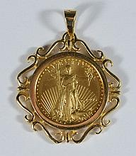 1995 US $5 gold eagle coin, 1/10 TO of fine gold, in a 14K YG bezel mount, 1.6 dwt