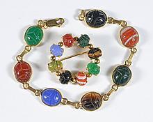 14K YG scarab bracelet, 7 1/4