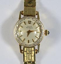 14K YG Girard Perregaux ladies wrist watch, quartz movement, 9.6 dwt w/o movement