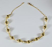 18K YG polished bead necklace, 17 1/2