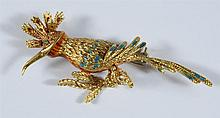 Unmarked 18K YG exotic bird pin, turquoise and red enameled decoration, 6.1 dwt, 2 1/2