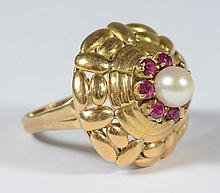 18K YG dome ring w/pearl & red stones, size 6 1/2, 4.8 dwt