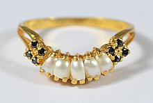 22K YG pearl and blue stone ring, size 7 3/4, 1.9 dwt