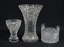 3 Pcs of American Brilliant Cut Glass, To Include: 2 Vases and 1 Ice Bucket, Tallest Is 12