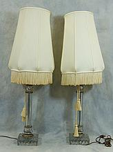 Pr of Molded Glass Support Table Lamps, 20th c, Height: 19