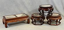 4 Chinese carved hardwood stands, all with marble top, 3 round, each approx 10-1/2