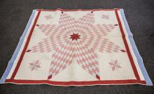 Lone Star quilt, stars in corners, red, white & blue border, 63