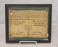 Memorial alphanumeric needlework sampler, in memory of Cordelia Newcomb born June the 17th aged 21 years 1825, 8