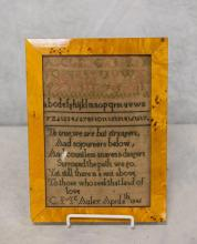 Alphanumeric sampler with verse, C McAuley April 8th 1845, birdseye maple frame, 10