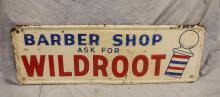 Embossed steel Wildroot Barber Shop Sign, dated 1957, 39-1/4