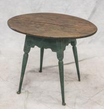 Blue painted tavern table, mid 19th C, missing one pad foot, 25-1/2