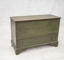 Country Chippendale Bracket Foot Mule Chest, left hand till, drawer in base, 32