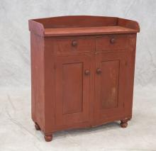 Jelly Cupboard Orig Red Paint, 2 drawers over 2 doors, 42