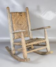 Childs rocker with woven splint back and seat, 24